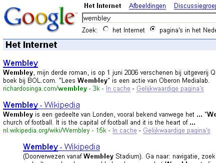 Wembley in Google